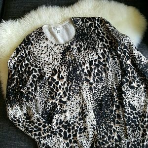 CROFT & BARROW Spotted Animal Print Cardigan-1X